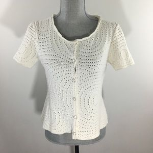St. John Collection Size 12 White Knitted Cardigan